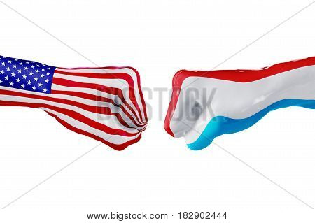 USA and Luxembourg country flag. Concept fight war business competition conflict or sporting events isolated on white, 3D illustration