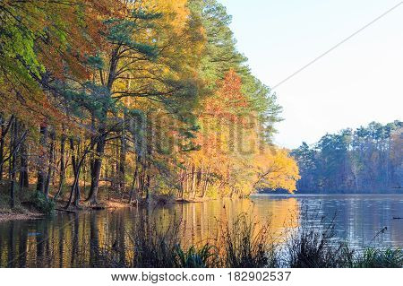 Lake Johnson in Raleigh NC during fall season