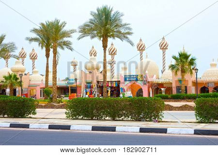 Sharm El Sheikh, Egypt - April 9, 2017: One of the shopping streets, the beautiful architectural features of the Egyptian buildings at Sharm El Sheikh, Egypt on April 9, 2017: