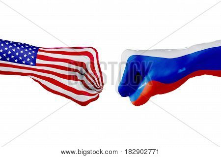 USA and Russia country flag. Concept fight war business competition conflict or sporting events isolated on white, 3D illustration