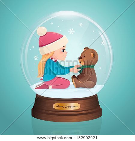 Glass Toy. Snow realistic globe with girl and bear. Vector illustration. New year christmas object.