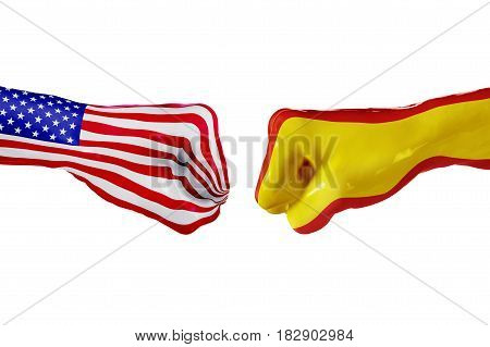 USA and Spain country flag. Concept fight war business competition conflict or sporting events isolated on white, 3D illustration