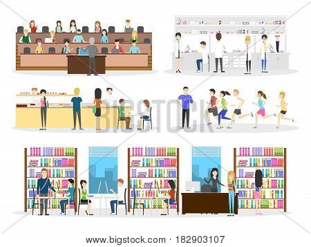 University interior set. Campus and classroom and laboratory on white background.