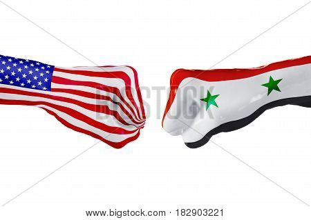 USA and Syria country flag. Concept fight war business competition conflict or sporting events isolated on white, 3D illustration