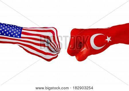 USA and Turkey country flag. Concept fight war business competition conflict or sporting events isolated on white, 3D illustration