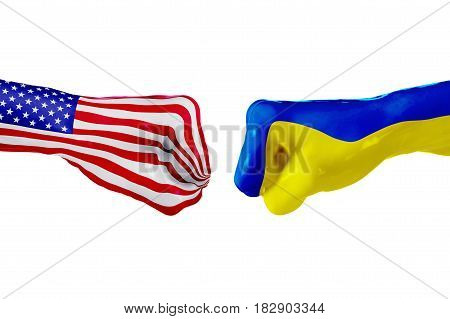 USA and Ukraine country flag. Concept fight war business competition conflict or sporting events isolated on white. 3D illustration