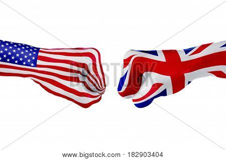 USA and United Kingdom country flag. Concept fight war business competition conflict or sporting events isolated on white. 3D illustration