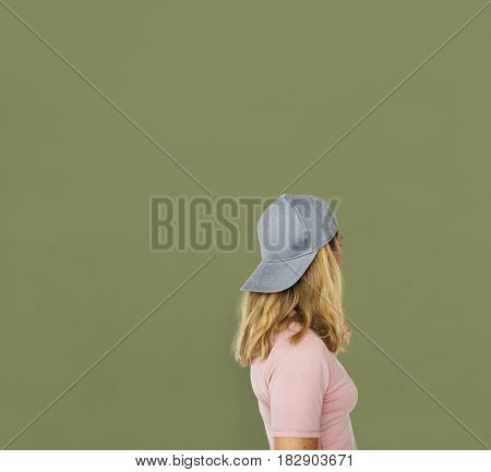 Woman Cap Lifestyle Rear View Portrait Concept