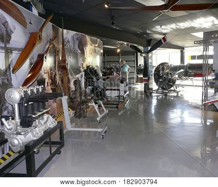 PENSACOLA, FLORIDA - OCTOBER 19, 2016: Various aircraft engines from over the years are on display at the National Naval Aviation Museum in Pensacola, Florida.
