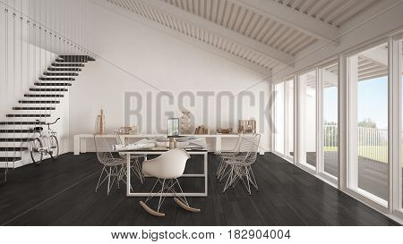 Minimalist white and gray office architect and planning department scandinavian interior design, 3d illustration