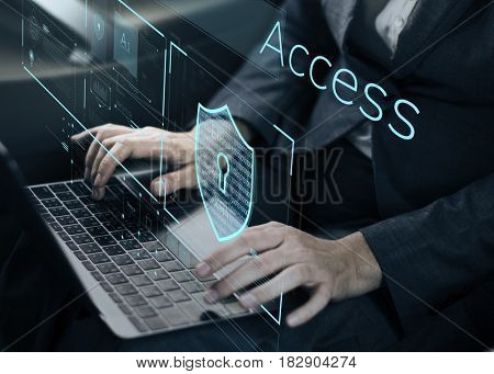 Man working on laptop network graphic