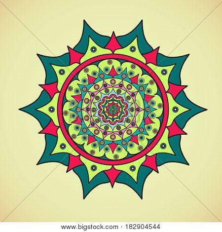 Colored beautiful mandala on a light background