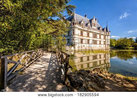 The castle chateau de Azay-le-Rideau, France. This castle is located in the Loire Valley, was built from 1515 to 1527 one of the earliest French Renaissance chateaux.