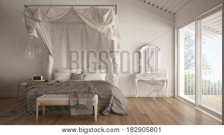 Canopy bed in minimalistic white bedroom with big window scandinavian classic interior design, 3d illustration