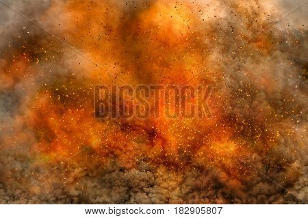 Large fire with flames smoke and flying sparks and particles as background.