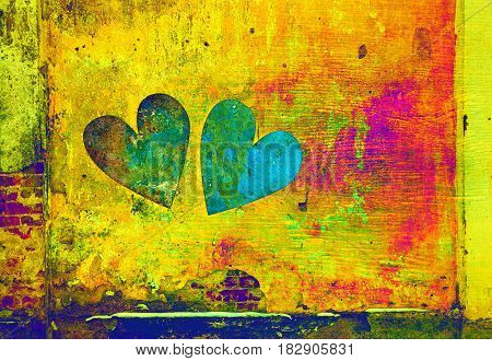 Abstraction of a heart on a bright background. Creative art background. Double exposure - Creative reception