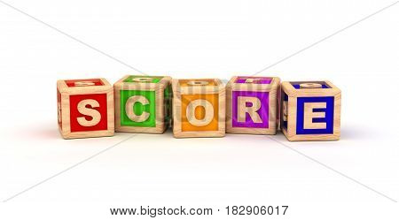 Score Text Cube (computer generated image) 3D Rendering