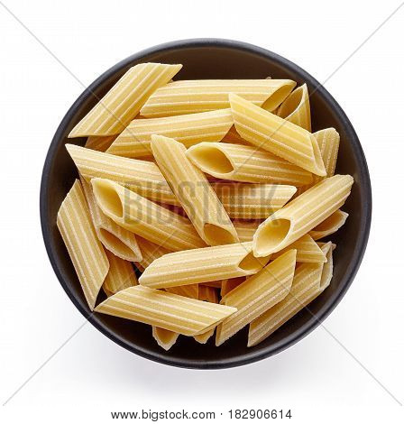 Pasta In Bowl Isolated On White, From Above