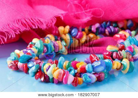 Ethnic Gem Bijouterie Lay On Pink Silk Shawl