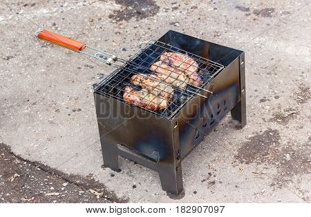 Juicy appetizing pieces of grilled meat cooked on the grill over the coals