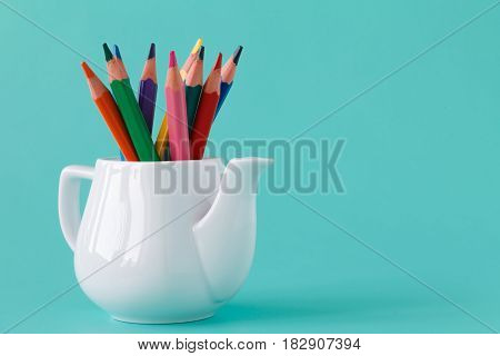 Colorful Pencil Set On Table On Blue Background,  Art And Drawing, Education And Design, Copy Space