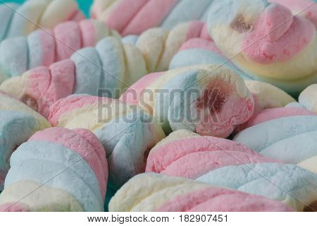 Close up of rainbow marshmallows Pastel color of marshmallows texture background