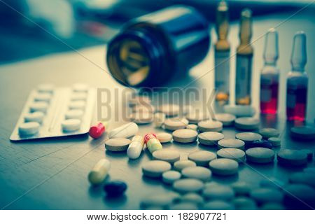 A Lot Of Colorful Medication And Pills