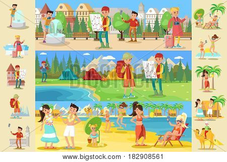 Traveling people infographic concept with beach vacation sightseeing and camping types of tourism vector illustration poster
