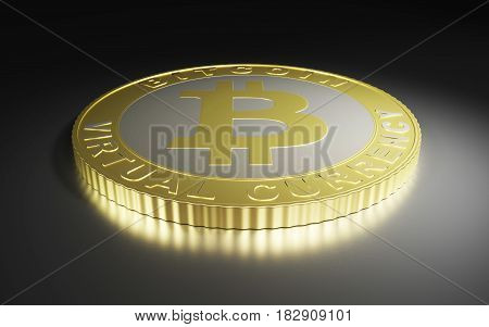 Golden bitcoin on dark background. Bitcoin cryptocurrency. 3D rendering
