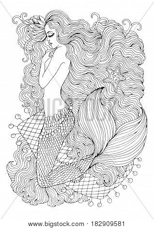 Vector drawing fantastic sea mermaid with water lily in long wavy hair on the web. Ornamental decorated graphic illustration of a mermaid tattoo. Coloring  page sea nymph. Fairy tale characters.