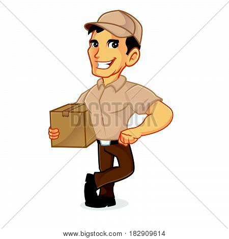 Delivery Man Holding Package And Leaning