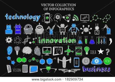 Sketch science and technology elements set with innovations and inventions on black background isolated vector illustration