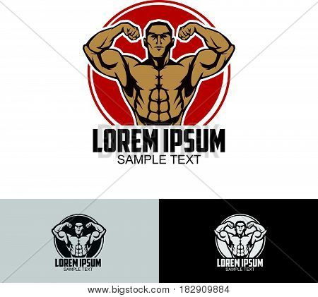 Body builder logo template isolated in white background