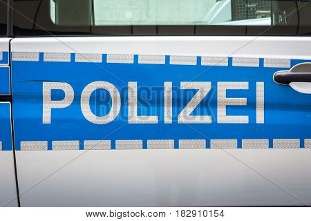 German Polizei Car Label Badge Police Blue Silver Reflective Safety
