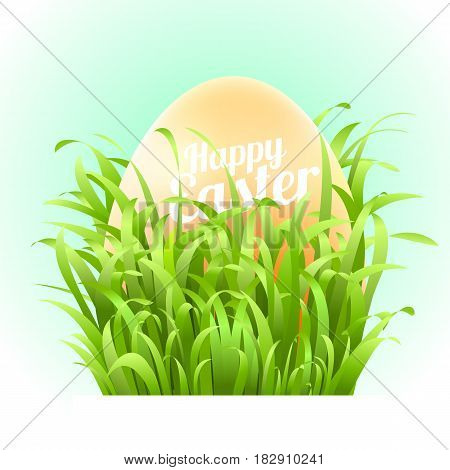 Happy Easter Card with Eggs, Grass and Bokeh Effect. Vector illustration