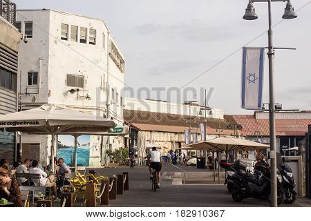 TEL AVIV ISRAEL - May 19 2014: Beautiful day in the ancient Port Jaffa - is a major tourist attraction