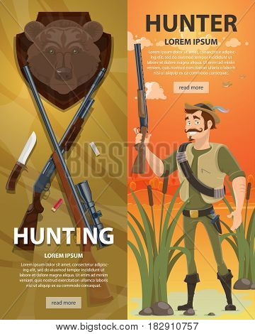 Colorful hunting vertical banners with shotgun rifle knife bear head trophy and hunter on swamp landscape vector illustration