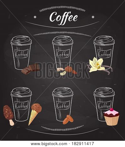 Hand drawn coffee collection with chocolate nuts vanilla ice cream caramel candies and cake isolated vector illustration