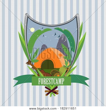 Flat forest camp label template with tent guitar backpack hat plants on light striped background vector illustration