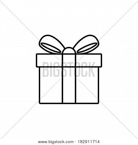 Gift line icon, mothers day, giftbox with ribbon vector graphics, a linear pattern on a white background, eps 10.