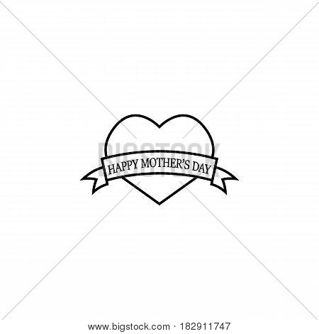 Happy Mothers day line icon, heart with ribbon sign, holiday vector graphics, a linear pattern on a white background, eps 10.
