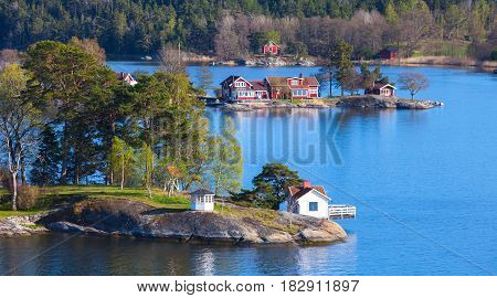 Swedish Wooden Houses On Islands