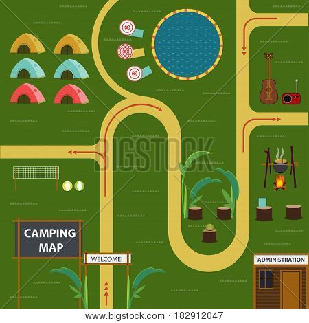 Flat camping map concept with tourist tents pond places for volleyball game food cooking and recreation vector illustration