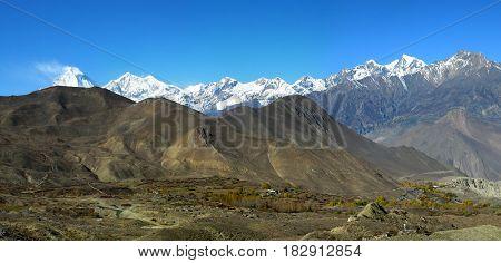 Panoramic veiw of the Himalayan Mountains and Dhaulagiri mount after Thorong La pass Muktinath Nepal.