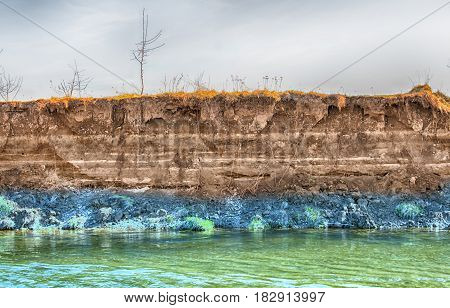 layer of soil beneath section. A close up