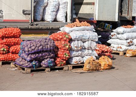 Samara Russia - september 26 2015: Fresh vegetables ready to sale at the farmers market