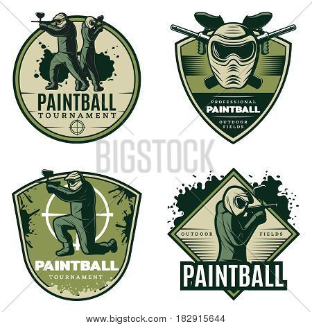 Colorful vintage active leisure emblems set with paintball mask rifles and competitive aiming players isolated vector illustration