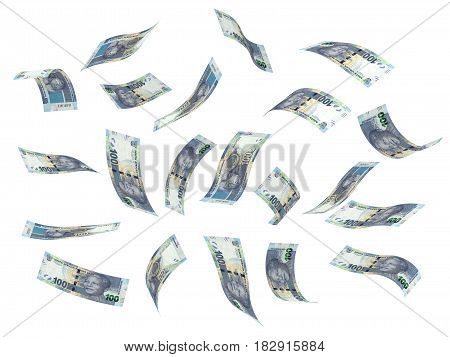 Flying South African Rand (isolated with clipping path) 3D Rendering