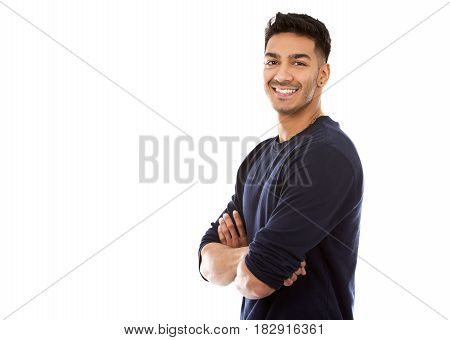 Casual East Asian Man On White Isolated Background