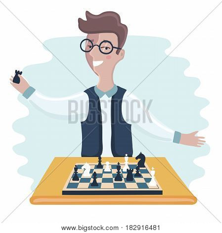 Vector illustration of funny cartoon smiling young clever man with glasses playing chess